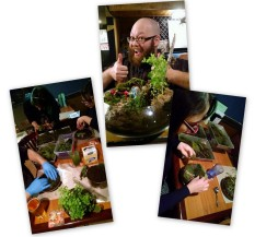 "[image description: photos are displayed like they are in a pile. One shows two women with black hair, one with colorful blue streaks, leaning over their work as they select mosses to arrange in a planter. One picture shows a beaming man with a bald head and bushy red beard giving ""two thumbs up"" over the top of his finished work: a planter modeled to look like a miniature hobbit house and garden. Another photo looks over the shoulder of a woman with thick rimmed glasses and a sweep of black hair who is adding final touches to her garden: tiny red and white mushrooms to frame a tiny pebble path."