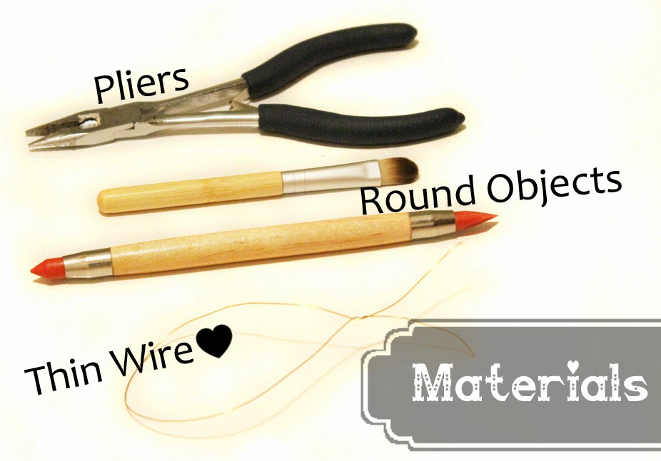 A collection of tools needed: needle nose pliers, round objects to twist wire around, thin wire like 20g or smaller.