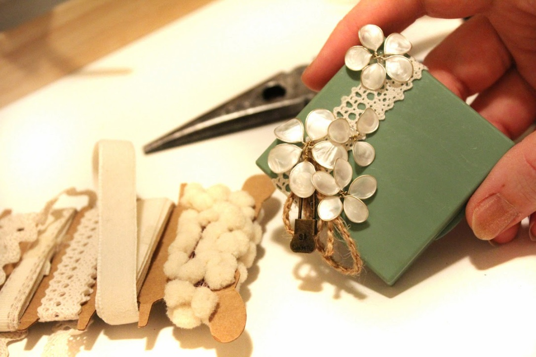 A card stock spool shows cream colored ribbons and laces wrapped around it. A piece of its lace has been attached to the top of a sage green makeup compact. Pearlized white nail polish flowers have been added on top of it. There are a few loops of natural cording and a vintage-style laundry pin added on as an accent bow.