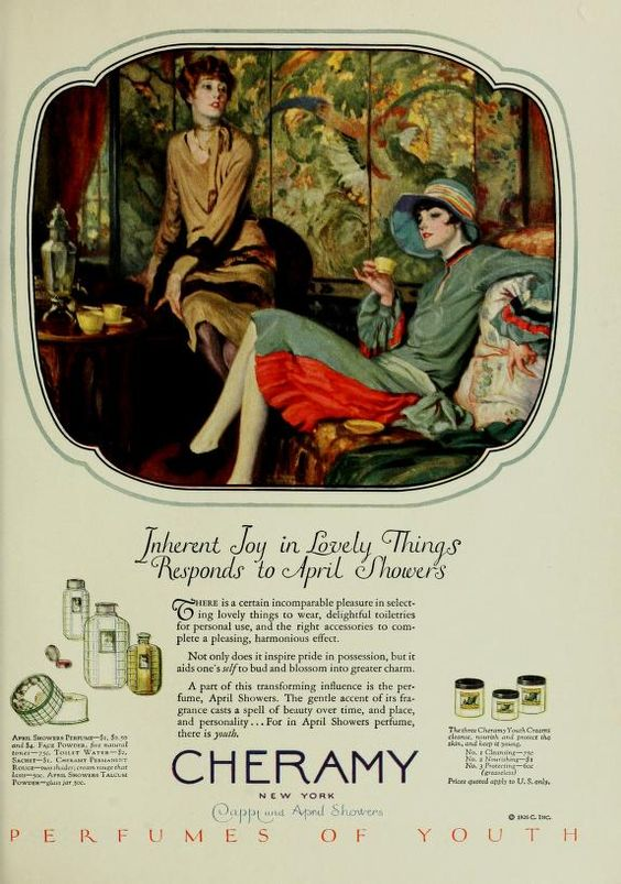 A vintage advertisement. An illustration of two feminine-looking people, one drinking tea. Below is copy promoting Cheramy's products and illustrations of various perfumes and cosmetics.