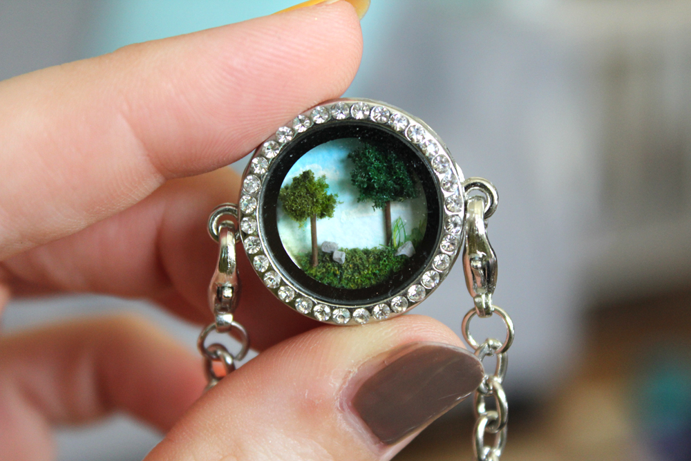 Forest Clearing Diorama Bracelet by MeandrousArt